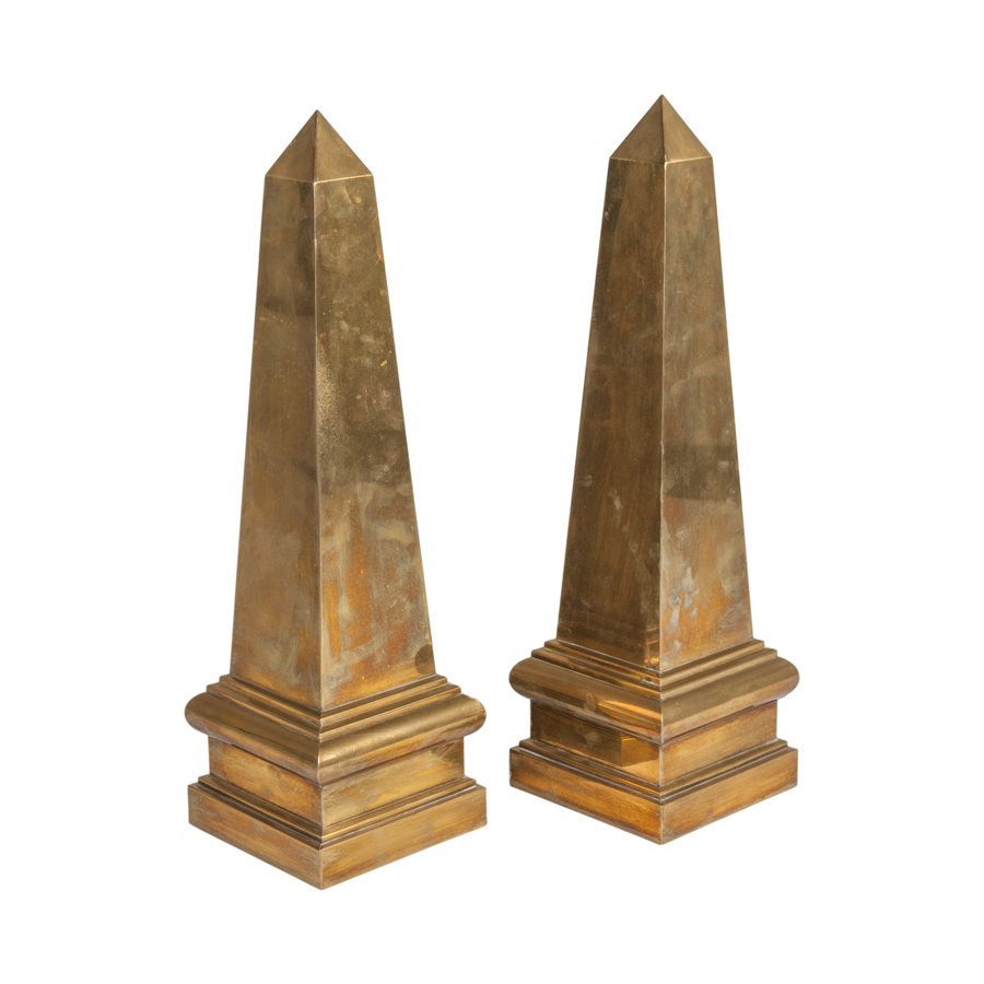 Set of Tall Italian Brass Obelisks
