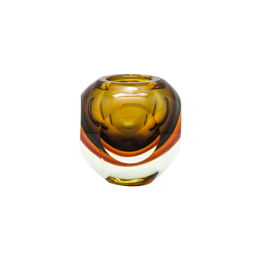 Vintage Murano Faceted Fabio Poli Glass Vase Amber and Gold
