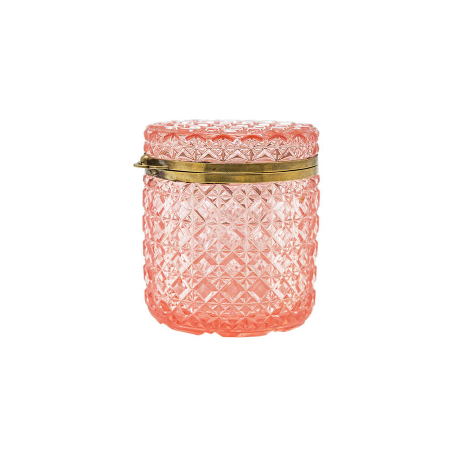 Large Round Pink Cut Crystal Jewelry Box with Brass Trimming