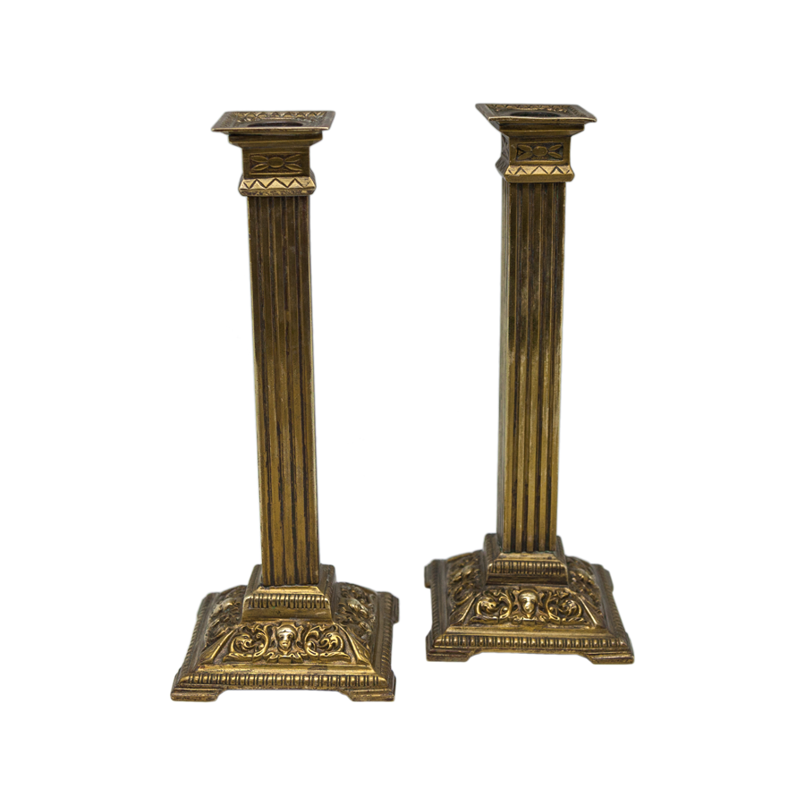 Square Brass Column Candlesticks