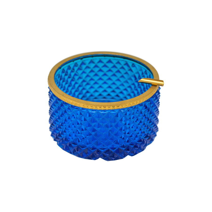 Blue Cut Crystal French Ashtray with Brass Trim