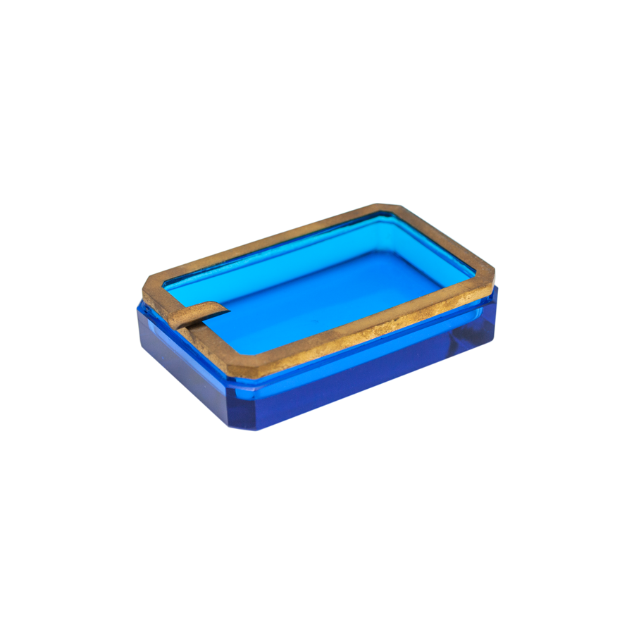 Blue Crystal and Brass Rectangular Ashtray - Vintage