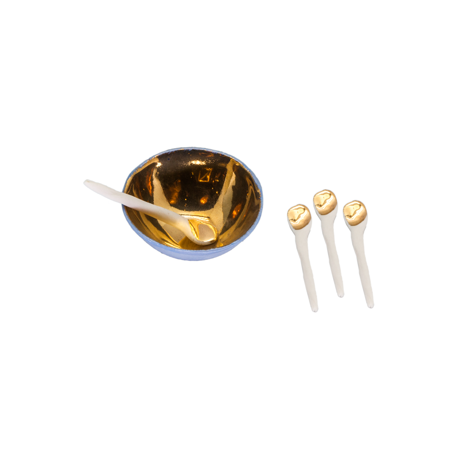 Gold Raw Porcelain Salt Cellars