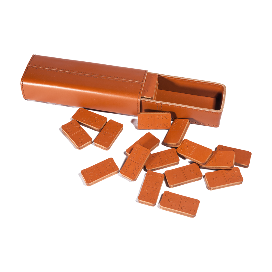 Italian Leather Domino Set