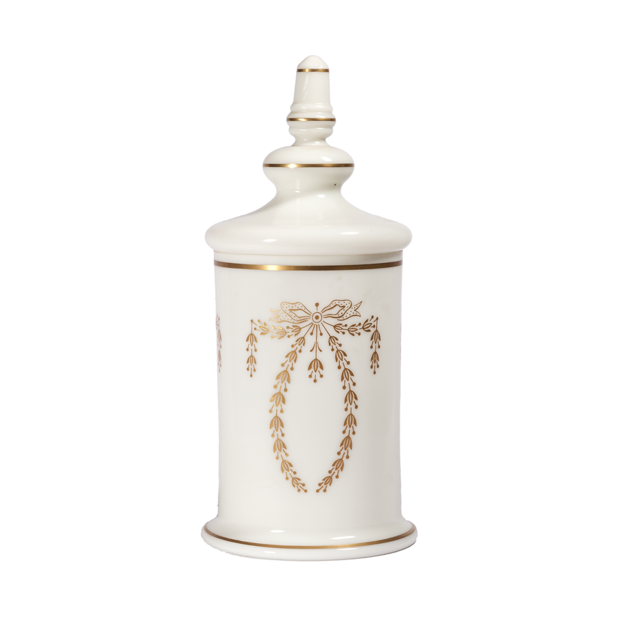 White Opaline Apothecary Jar - Portieux Vallérysthal