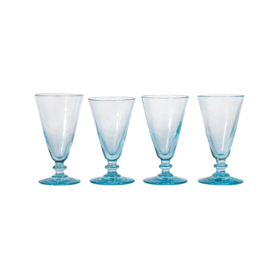 Hand Blown Blue Sherry Glasses - Set of 6