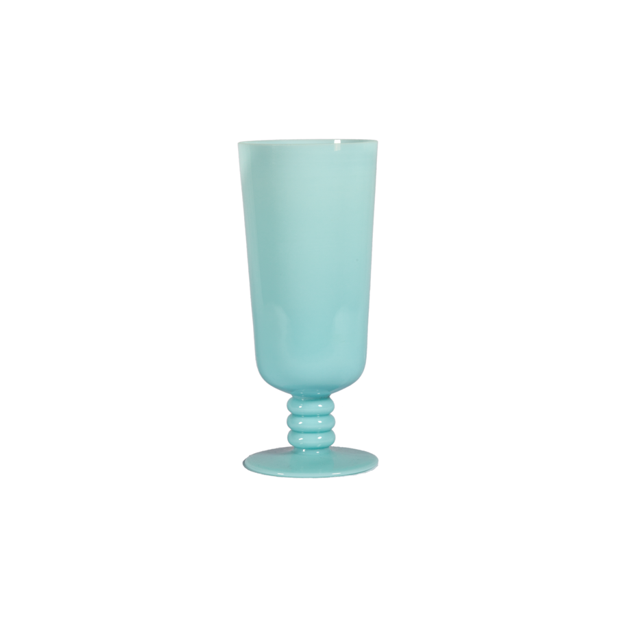 Blue Opaline Triple Ring Pedestal Vase