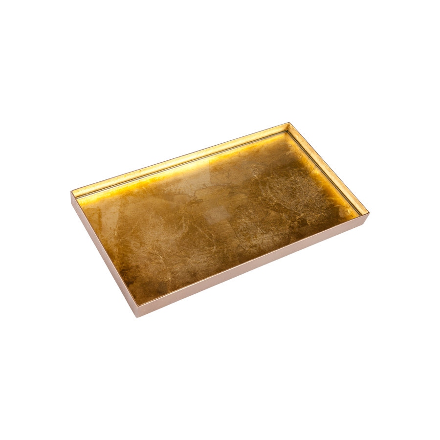 Organic Glass Trays with Gilt Brass Rim
