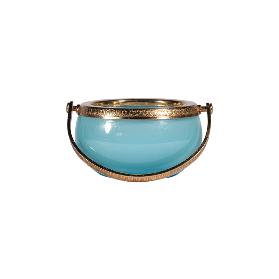 Italian Blue Opaline Dish with Gold Handle