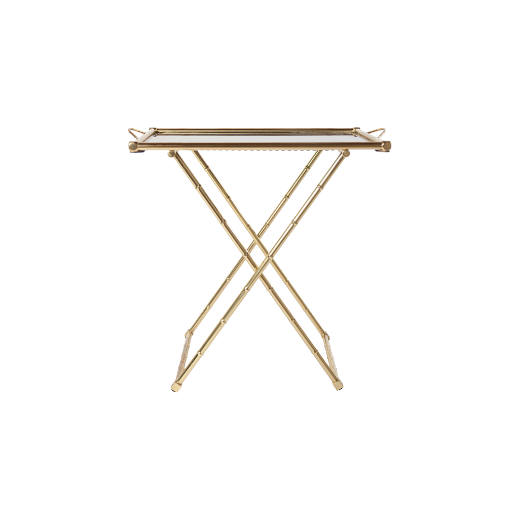 Brass and Glass X-Tray Folding Side Table