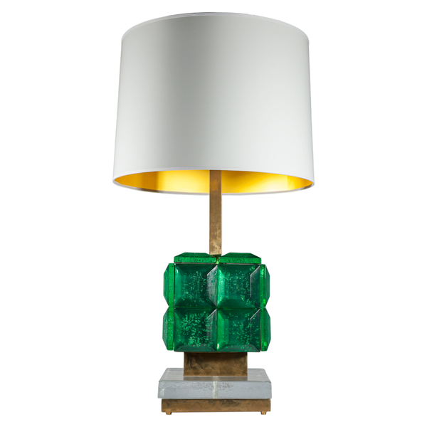 Green Art Deco Murano Table Lamps