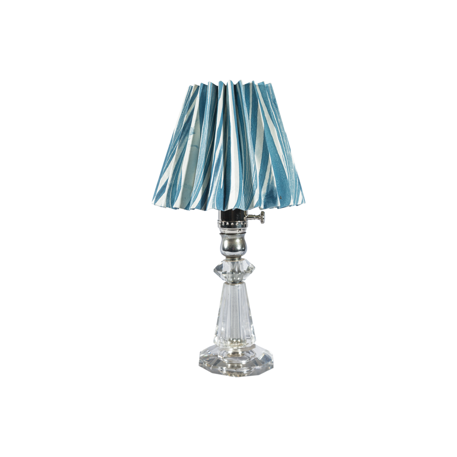 A Pair Vintage Crystal Table Lamps with Pleated Paper Shade