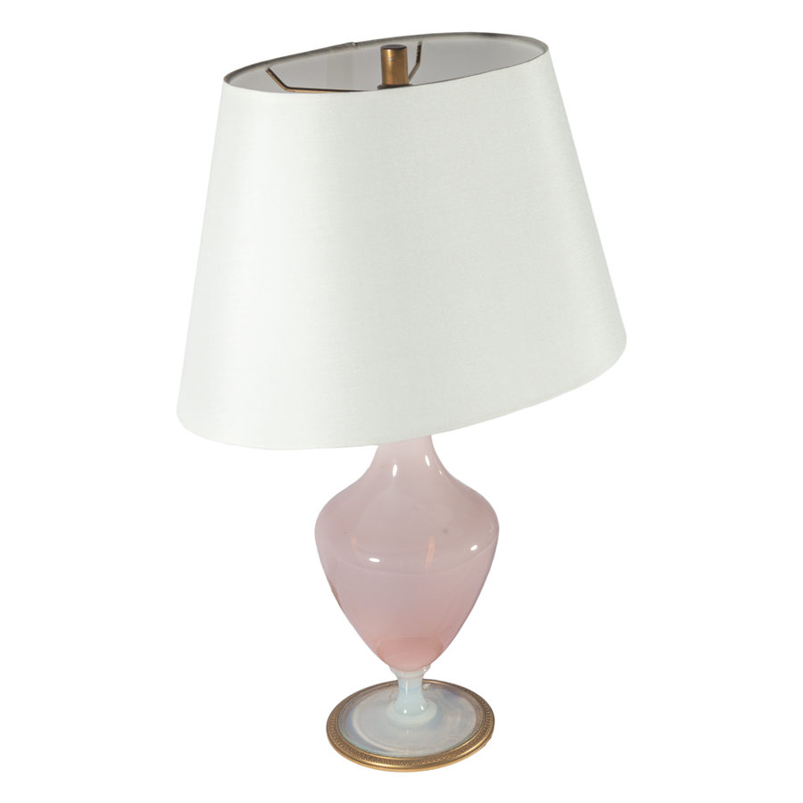 1920s Pink Opaline Lamp With Gold Details