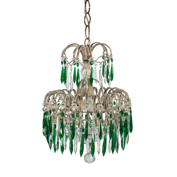 Antique Beaded French Clear and Green Crystal Chandelier