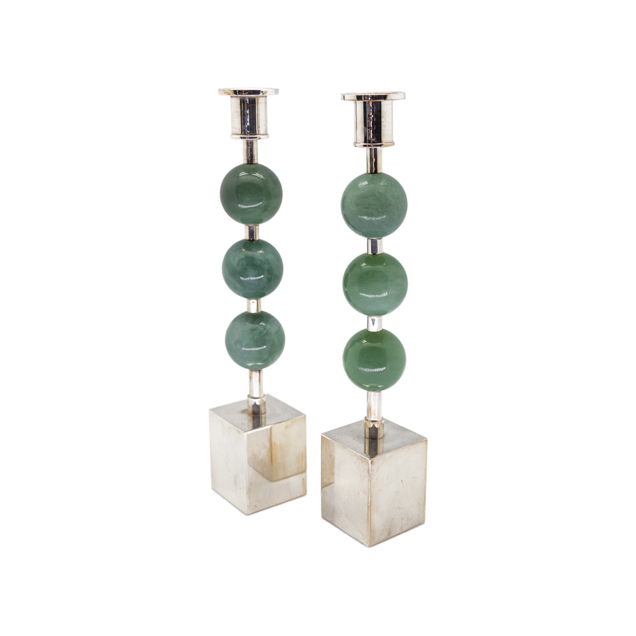 Semiprecious Triple Knob Sterling Candlesticks - Pair