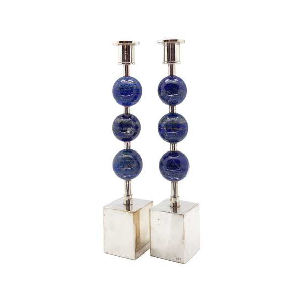 Semiprecious Triple Knob Candlesticks - Pair