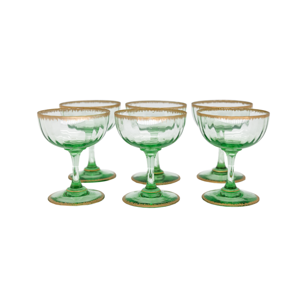 French Green & Gold Gilt Champagne Coupes - Set of 6