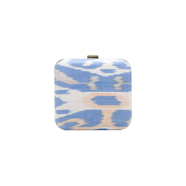 Silk Ikat brass clutch - Large Square - Light Blue/White/Blush