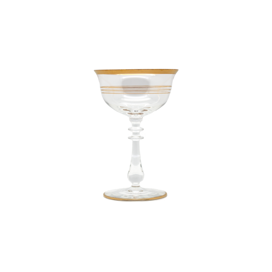 Gold Gilt Striped Champagne Coupes  - Set of 6