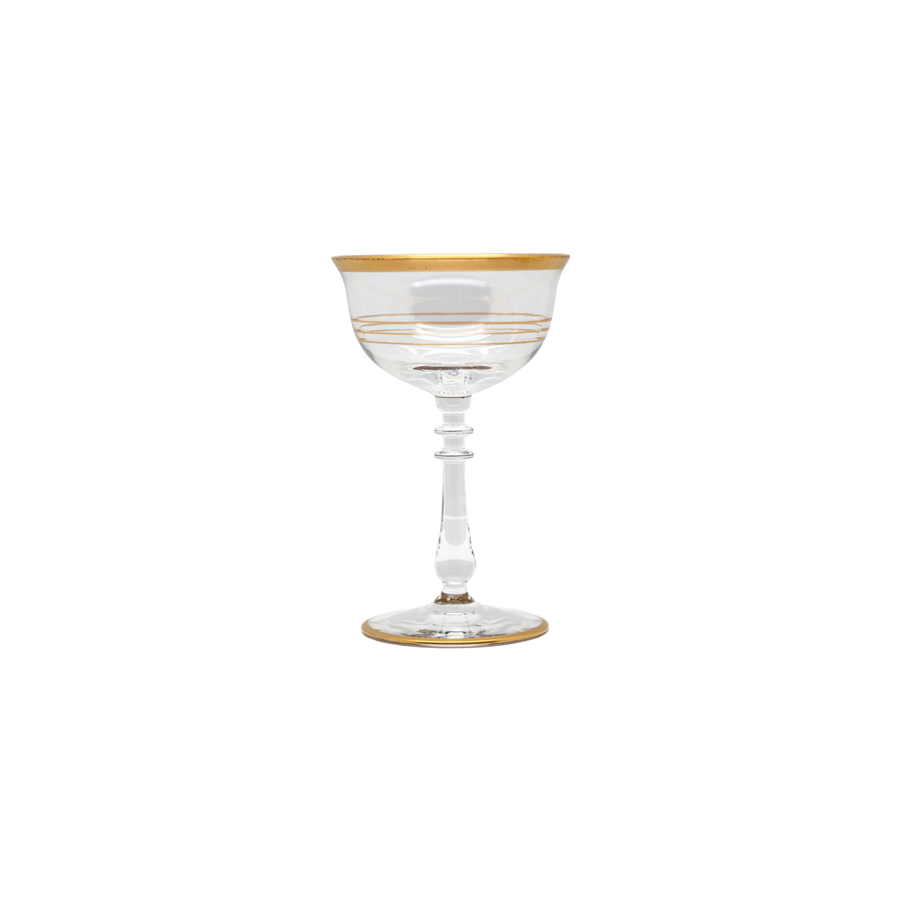 Gold Gilt Striped Sherry Glasses - Set of 8