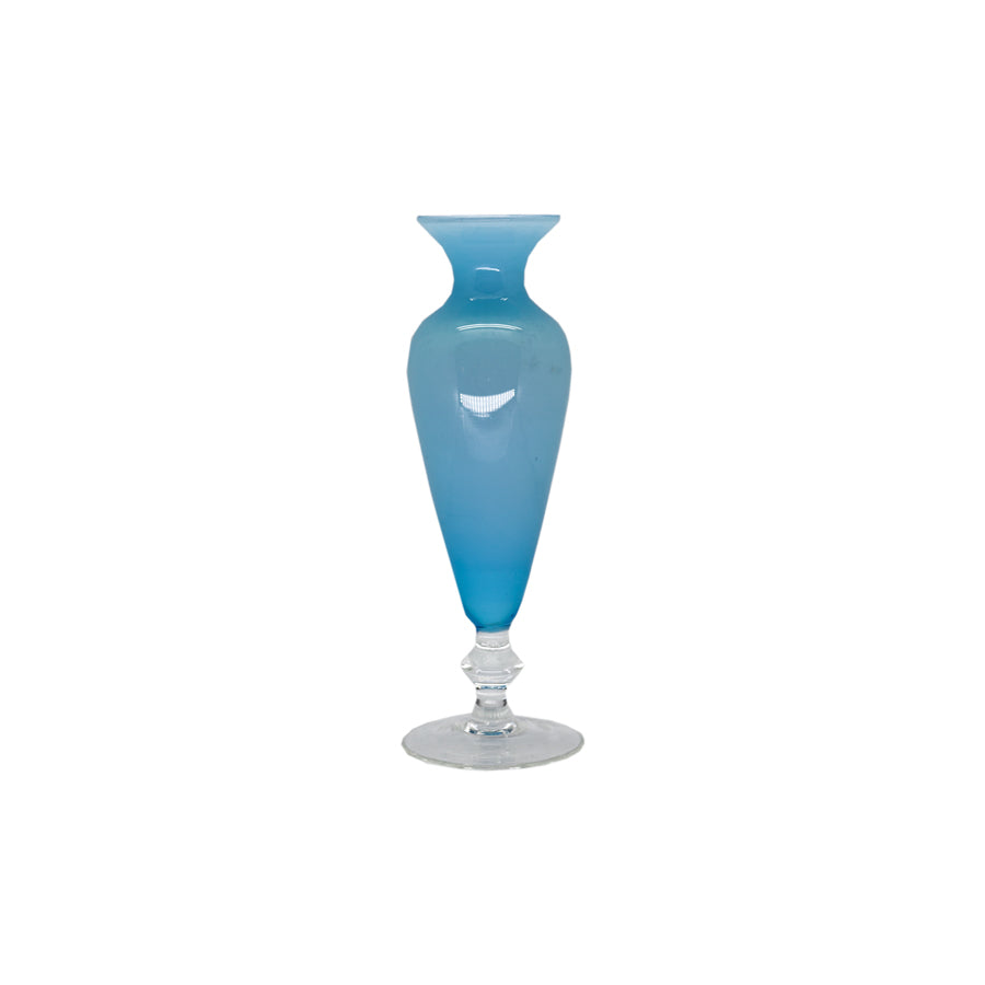 Blue Opaline Bud Vase with Clear Pedestal