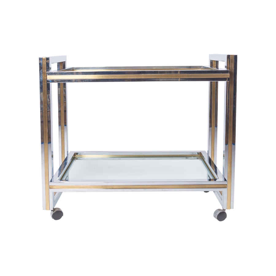 Romeo Rega Chrome and Brass Bar Cart