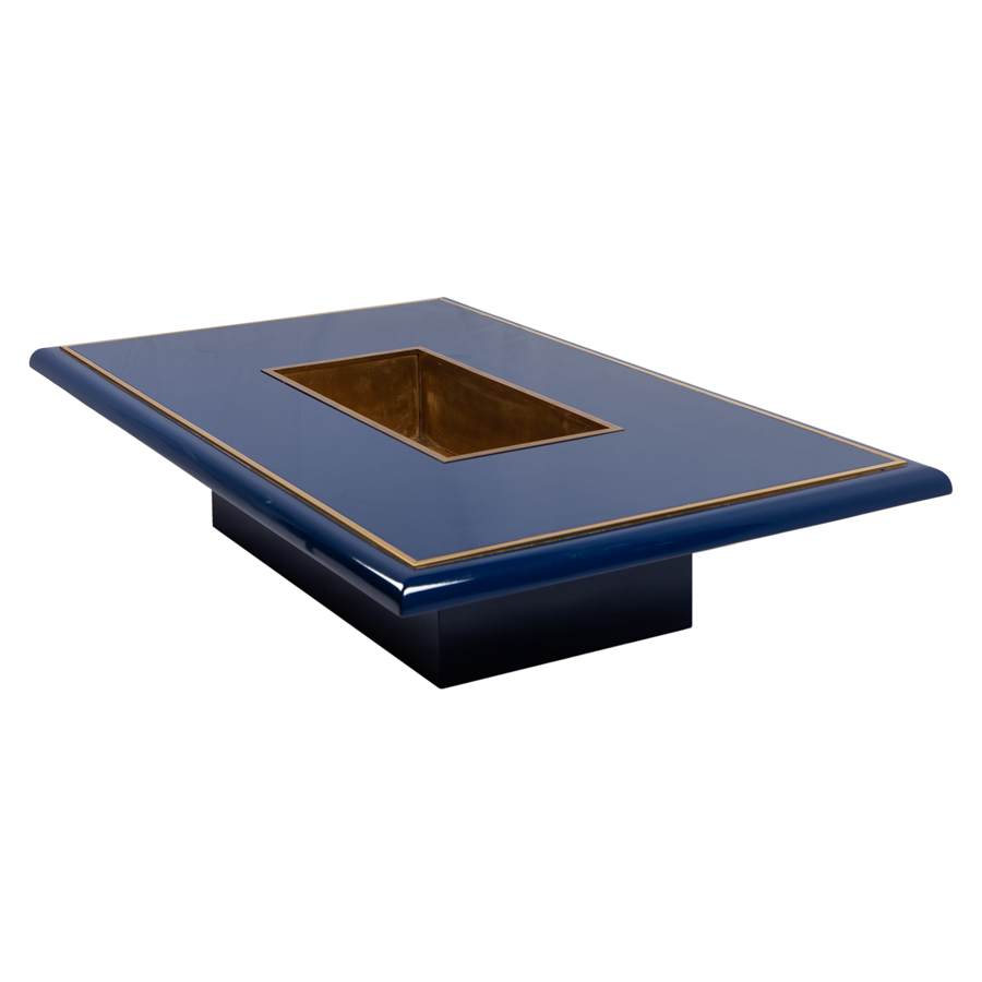 Willy Rizzo High Gloss Blue Lacquer and Brass Coffee Table