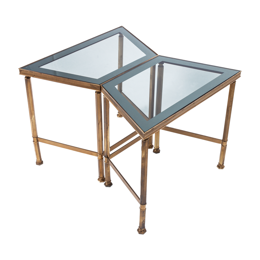 Brass and Silvered Glass Edge Side Tables