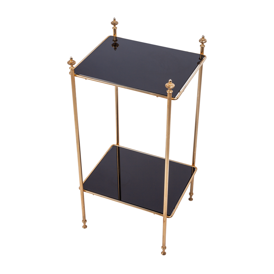 Brass and Antiqued Black Glass Table