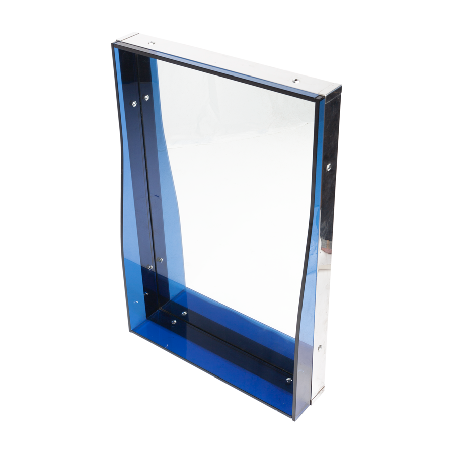 Fontana Arte Mirror with Deep Blue Glass and Chrome Frame
