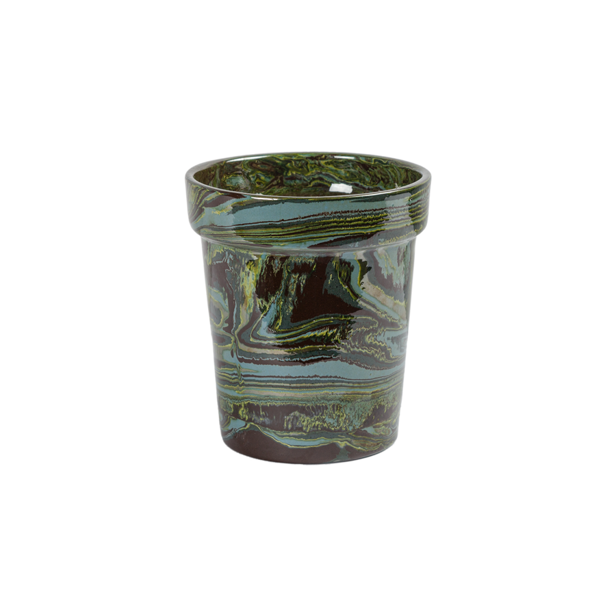French Marbleized Pottery Cache Pots by La Tuile à Loup