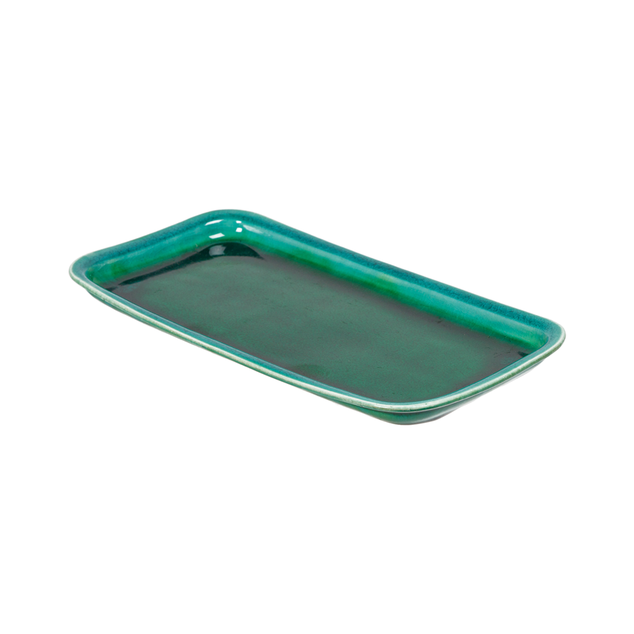 French Marbleized Pottery - Green Glazed Trays  by La Tuile à Loup