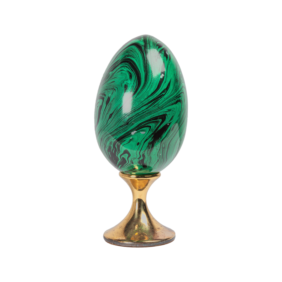 Fornasetti Style Faux Malachite Egg with Brass Pedestal