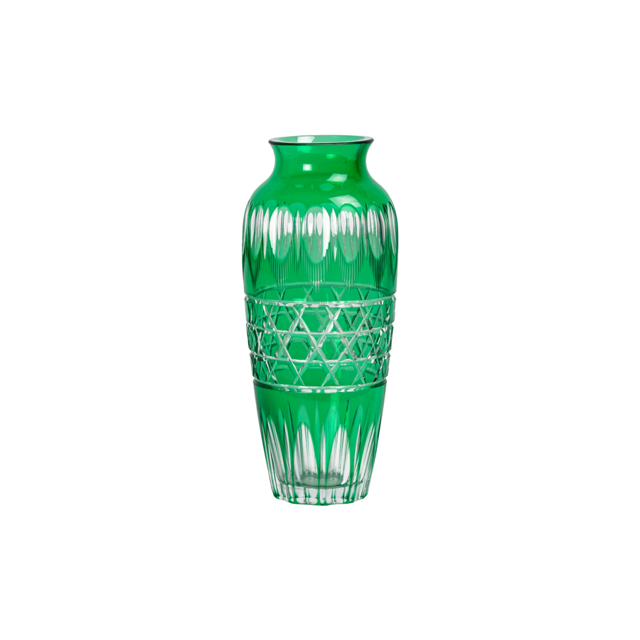 Emerald Green Cut to Clear Crystal Vase