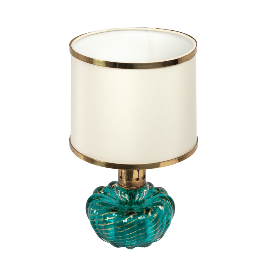 Alfredo Barbini Turquoise and Gold Flecked Glass Lamp