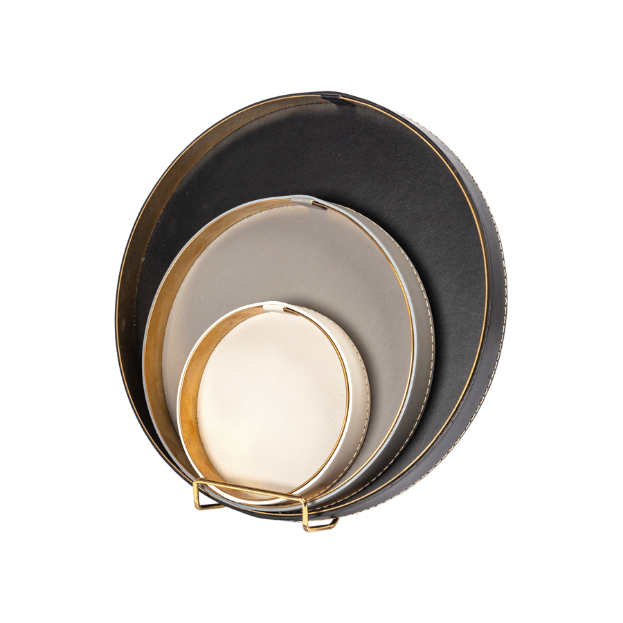 Leather and Brass Nesting Tray - Set of 3