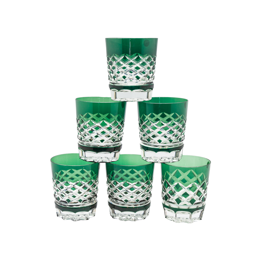 Val St. Lambert Emerald Green Lowball Glasses - Set of 6