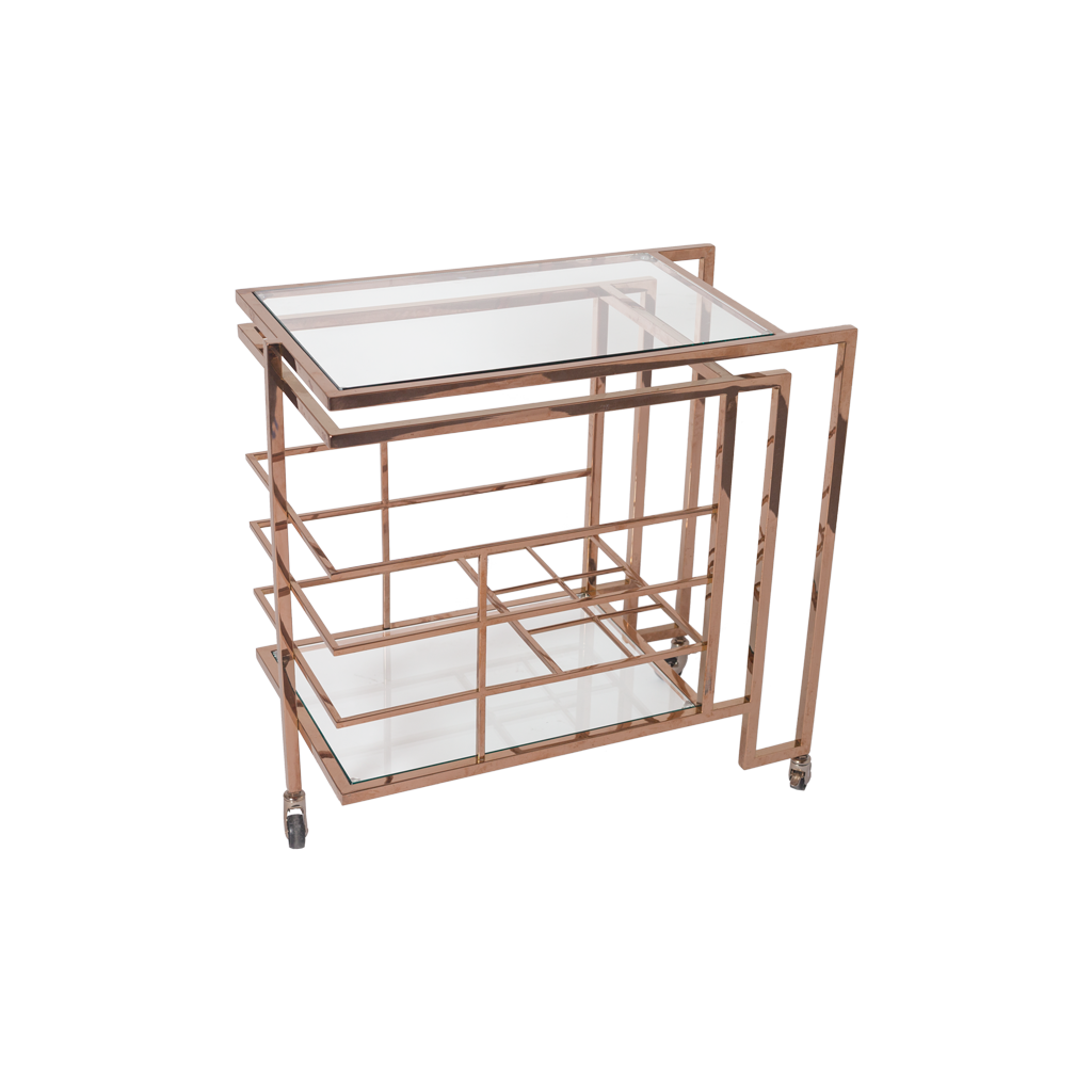 Rose Gold Brass and Glass Bar Cart - Vintage