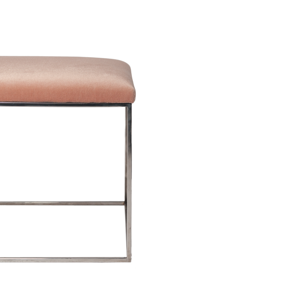 Minimalist Chrome Bench in Pink Mohair