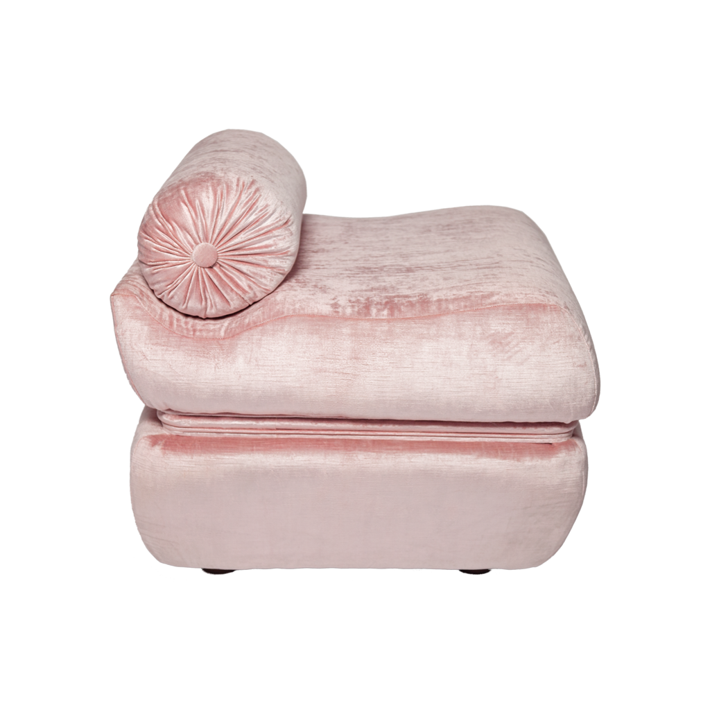 Pair of Blush Velvet Pouf Ottomans