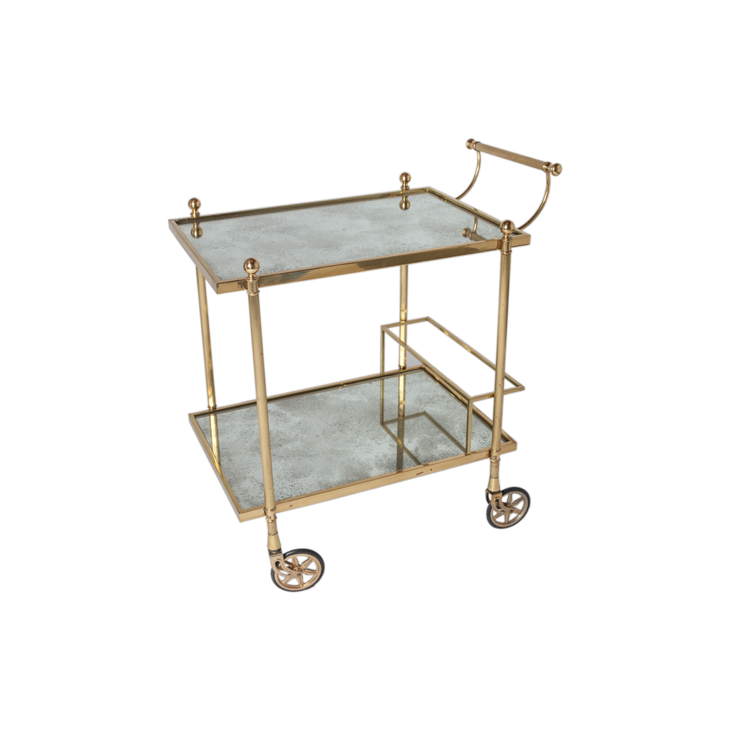 Brass And Antiqued Mirror Bar Cart Vintage Found By Maja