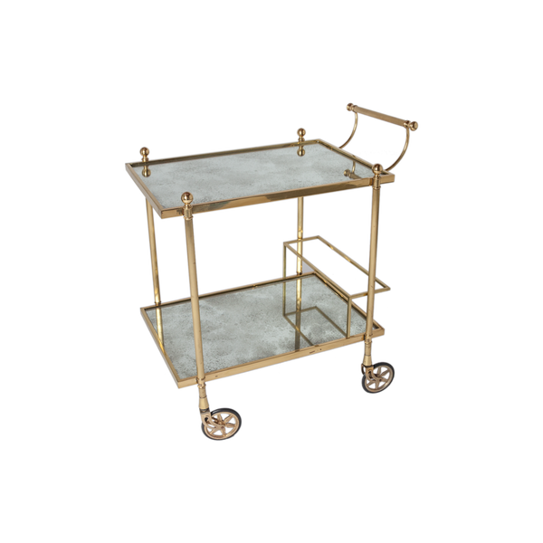 Vintage Brass and Antiqued Mirror Bar Cart