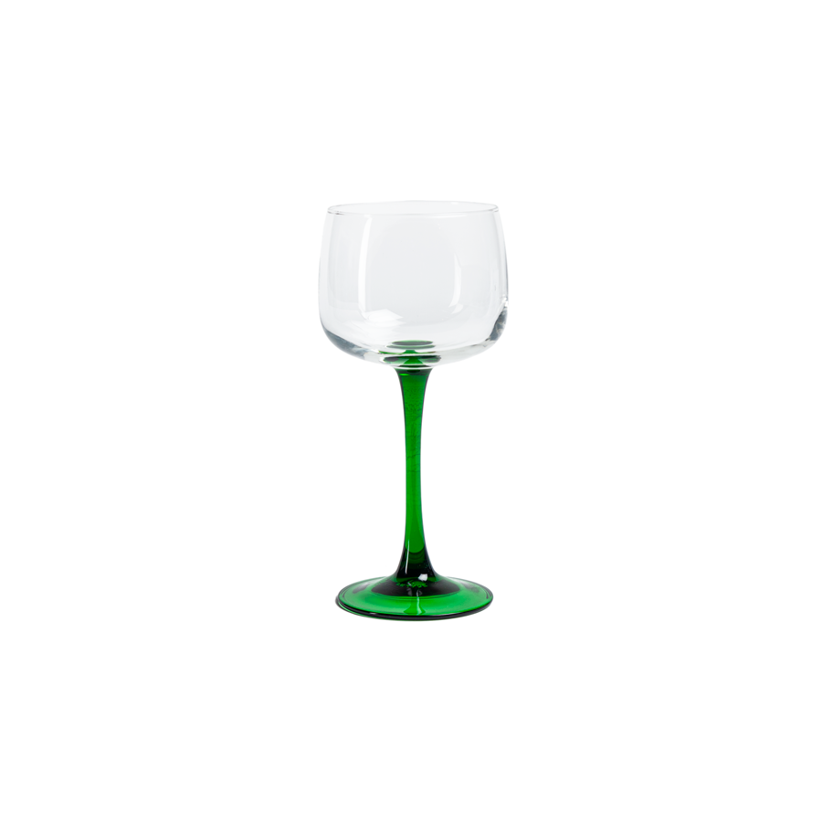 French Green and Clear Wine Glasses - Set of 8