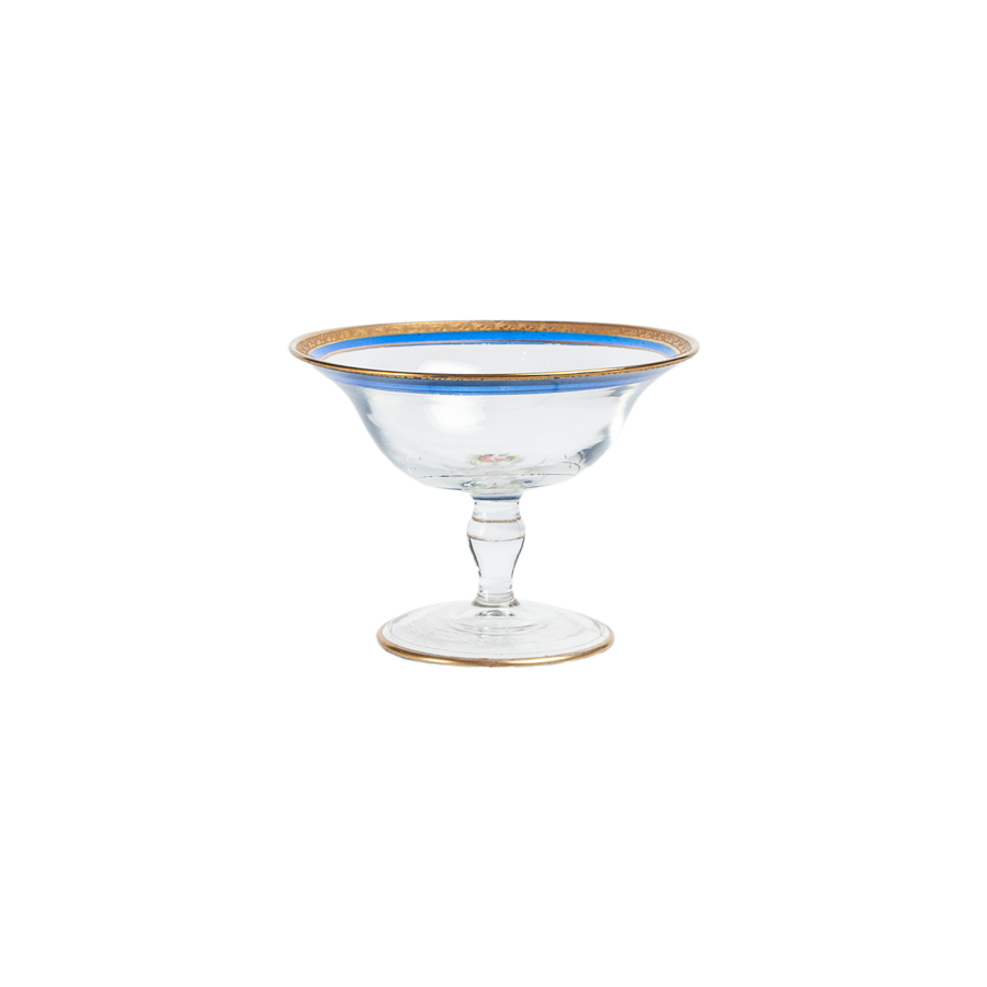 Tiffin Killanway Hand Painted Blue and Gold Champagne Coupes - Set of 6