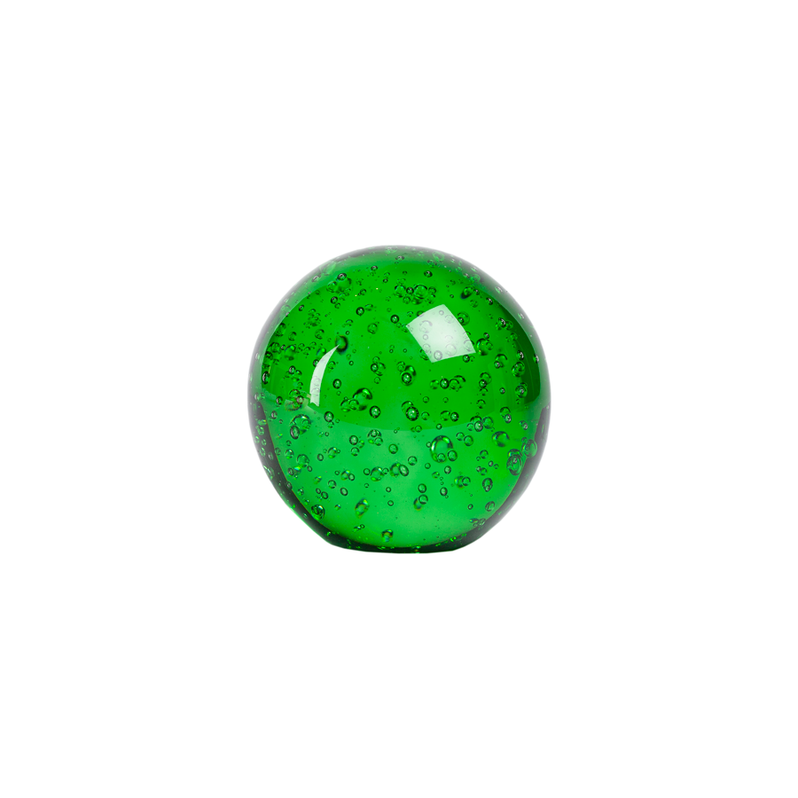 Green Bubble Controlled Murano Glass Paperweight