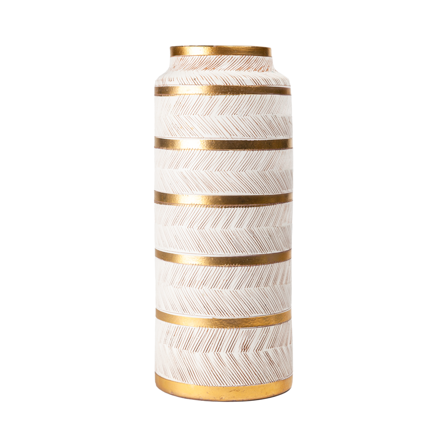 Aldo Londi Bitossi Gold and Cream Seta Tall Vase