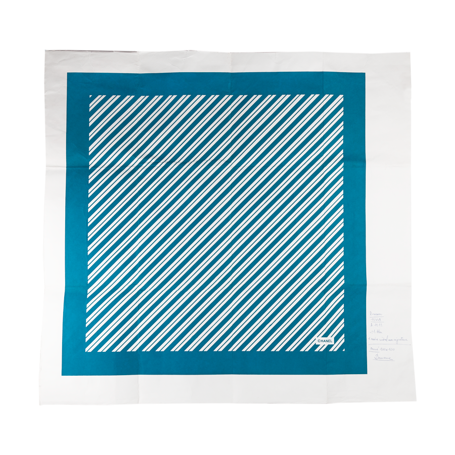 Chanel Scarf Printing Proof - Turquoise - 1960 - 1970s