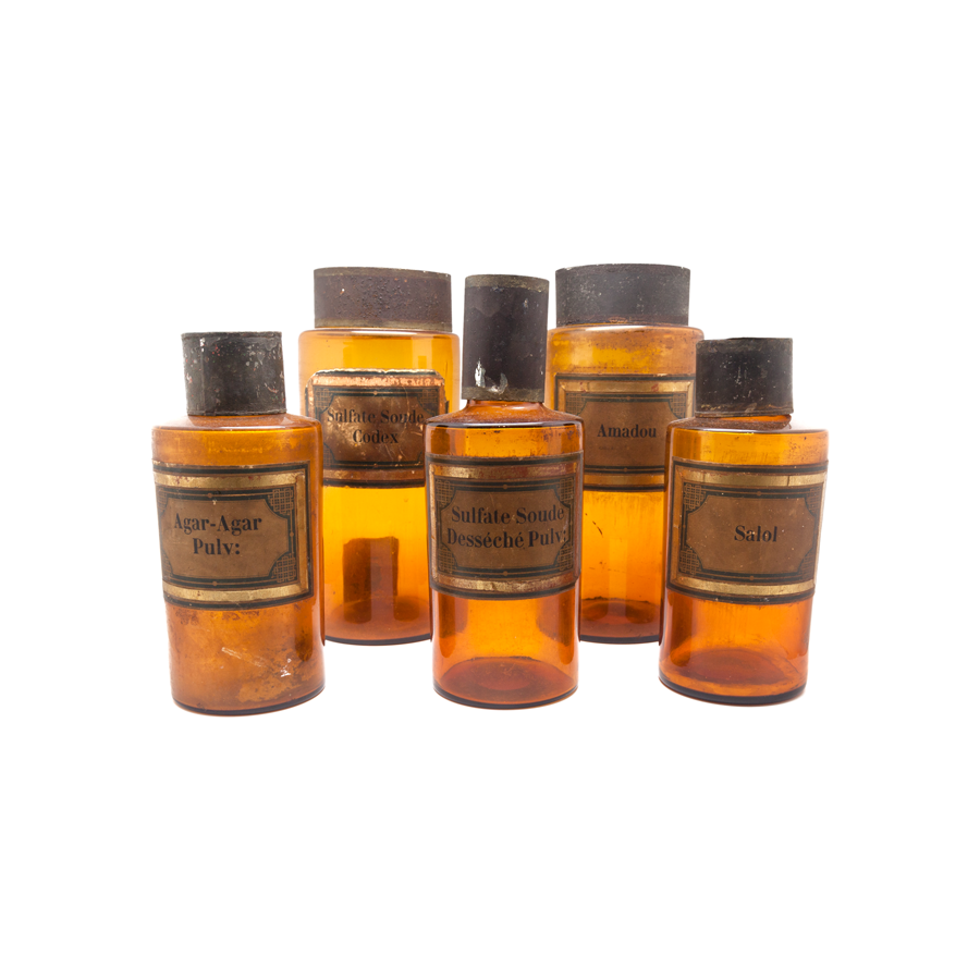 Apothecary Amber Glass Canisters - Vintage