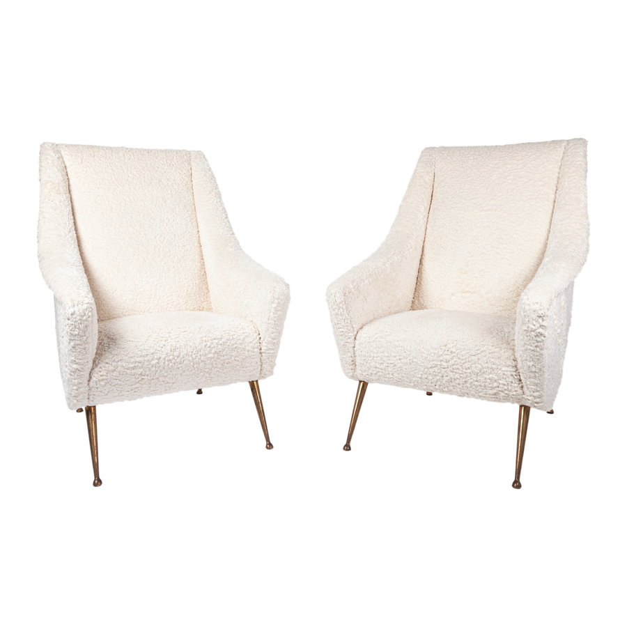 Vintage Pair of Italian Armchairs in White Boocle