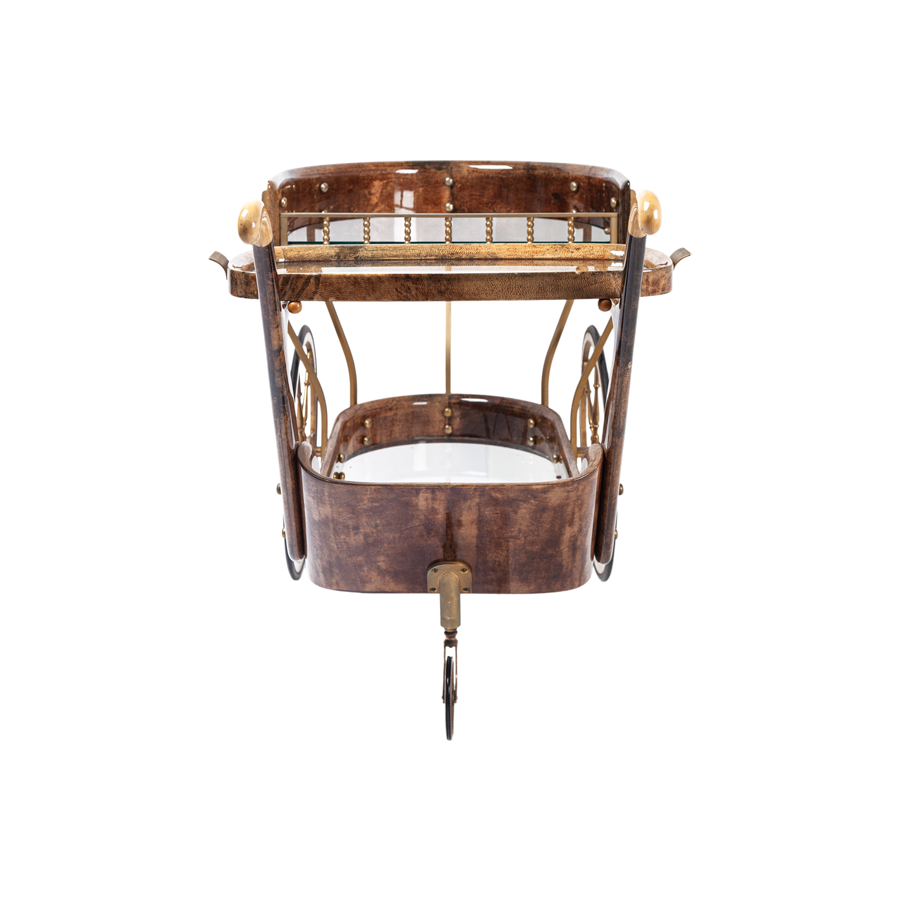 Aldo Tura Trolley Bar Cart - Brown